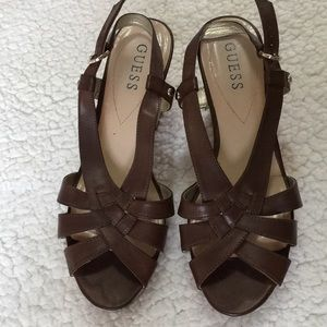 Guess faux leather strap wedge sandals Sz8M